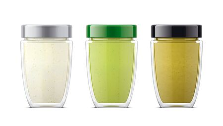 Set of Glass Jar with Sauces, Mustard, Wasabi, Horseradish.