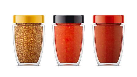 Set of Glass Jar with Tomato Sauces, Mustard.