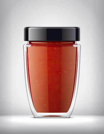 Glass Jar Mockup on Background with Tomato Sauce