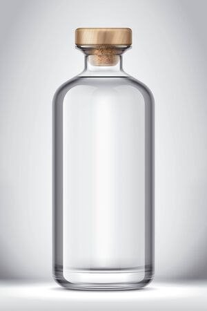 Glass bottle mockup on Background. Version with Cork. Zdjęcie Seryjne