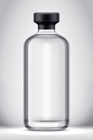 Glass bottle mockup on Background. Version with Foil.
