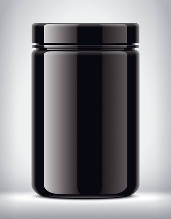 Plastic jar on background. Glossy surface