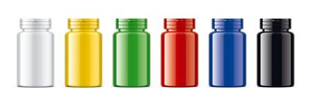 Set of Colored bottles for pills. Glossy surface version. Imagens