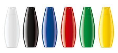 Set of Colored plastic bottles. Glossy surface version.