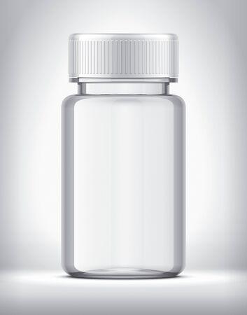 Bottle for pills on background. Transparent version. White Cap.