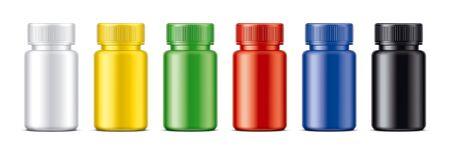 Set of Colored bottles for pills. Matt surface version.