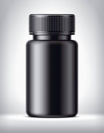 Bottle for pills on background. Matt surface version. Imagens