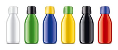 Set of colored bottles. Glossy surface version.