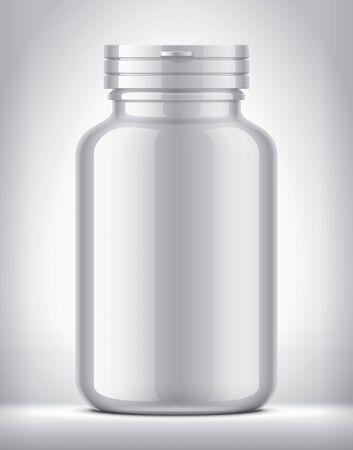 Bottle for pills on background. Glossy surface version. 版權商用圖片