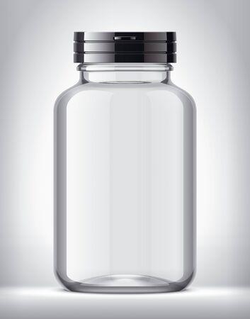 Bottle for pills on background. Transparent version. Black cap. Imagens