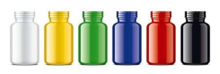Set of Colored bottles for pills. Glossy surface version. 版權商用圖片