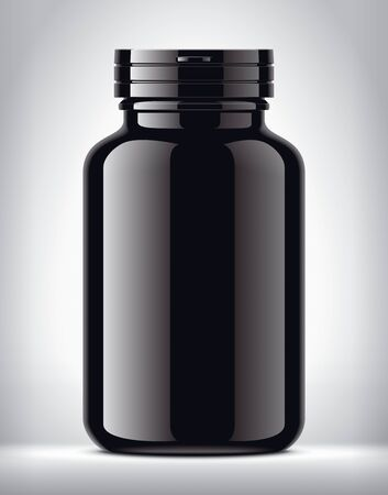 Bottle for pills on background. Glossy surface version. Imagens