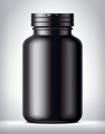 Bottle for pills on background. Matt surface version. 版權商用圖片