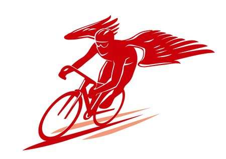 racing cyclist with wings 向量圖像