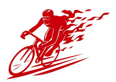 silhouette of a racing cyclist burning, on fire
