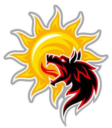 the black wolf devours the sun 向量圖像