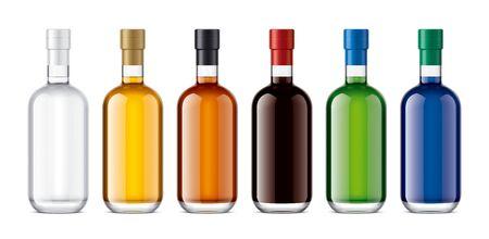 Set of Glass bottles. Version with Foil. Imagens