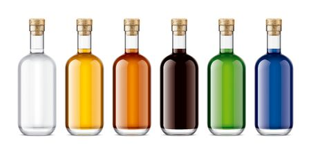 Set of Glass bottles. Version with Cork.