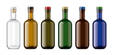 Set of Colored Glass bottles. Version with Colored Cork. 版權商用圖片