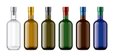 Set of Colored Glass bottles. Version with Metalized Foil.