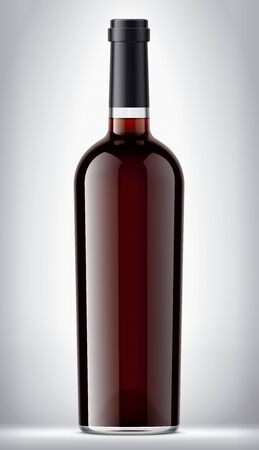 Transparent glass bottle on background with red wine.