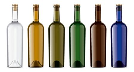Set of Wine bottles. Colored Glass. Version with Cork, without Foil. Imagens