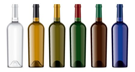 Set of Wine bottles. Colored Glass.
