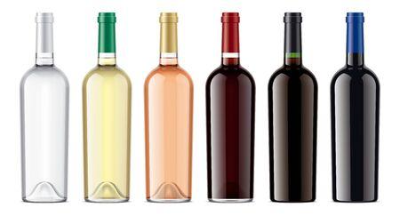 Set of Wine Glass bottles. Imagens