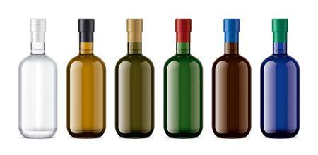 Set of Glass bottles. Version with Foil. 写真素材