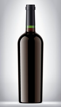 Green glass bottle on background with red wine. Imagens