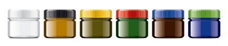 Set of Colored transparent Bottles.