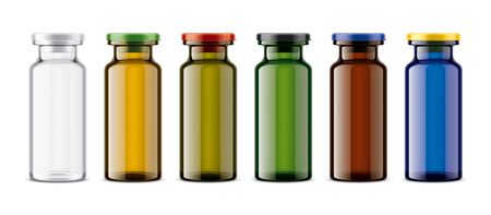 Set of Colored Glass Bottles.