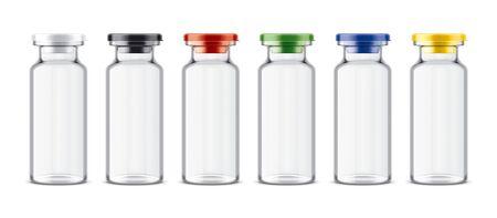 Set of Bottles with Colored Caps. 版權商用圖片