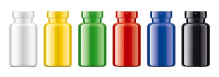 Set of Colored Bottles. Glossy non-transparent version. 版權商用圖片