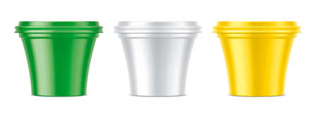 Set of colored plastic cups. Matt surface version. Stockfoto