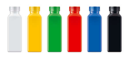 Set of Colored non-transparent Plastic Bottles.
