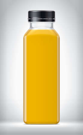 Plastic Bottle on background with Orange Juice.