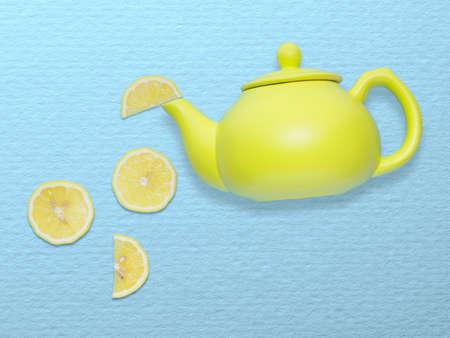lemony: Creative concept photo of a tea pot with lemon slices on blue background.