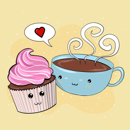 Creative concept still life valentines day illustration coffee cup and cupcake in love.