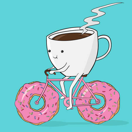 Creative concept still life illustration coffee cup riding the bike with donut wheels.