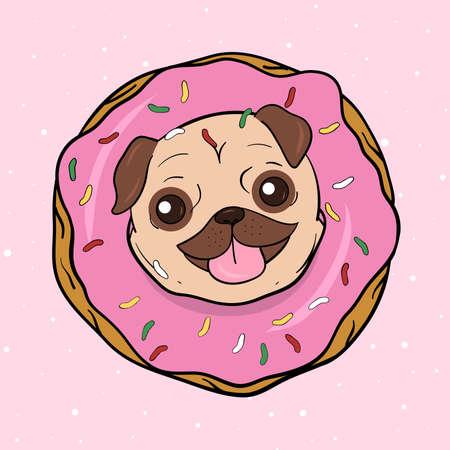 Creative conceptual still life illustration. Pug dog with donut.
