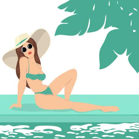Creative conceptual illustration. Woman near the pool on travel vacation. Archivio Fotografico
