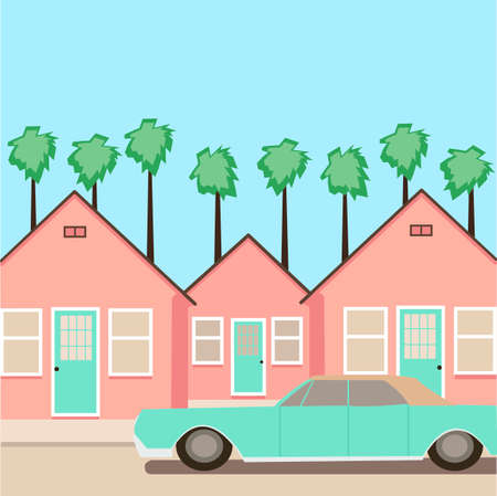 Creative concept vector illustration real estate houses city town background with car vehicle parking.
