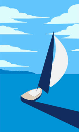 Creative concept vector illustration sailing boat yacht at the sea with mountains and sky on background.  イラスト・ベクター素材