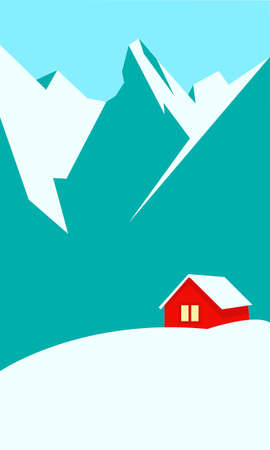 Creative concept vector illustration lonely cabin house in the snow on european mountain winter background.