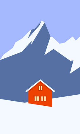 Creative concept vector illustration lonely cabin house in the snow on european mountain winter background. Imagens - 134722222