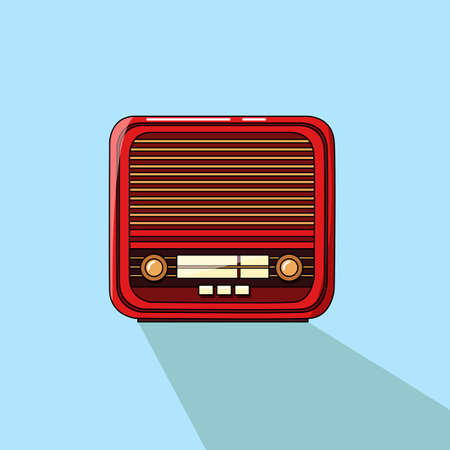 Creative conceptual retro music vector illustration. Old vintage radio tape recorder record player boombox with contrast shadow. Vecteurs