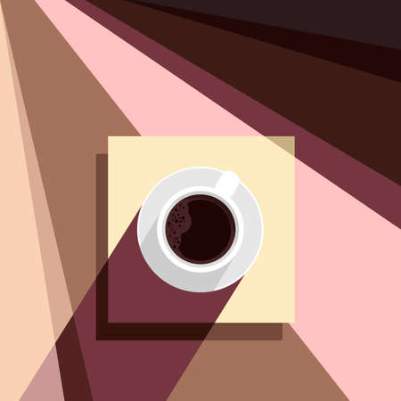 Creative conceptual vector illustration. Retro vintage abstract poster with coffee cup mug in the sun with contrast shadows.