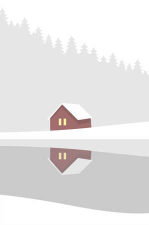 Creative concept vector illustration lonely cabin house in the snow on european woods forest winter background.