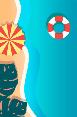 Creative concept vector travel illustration seaside beach landscape with umbrella and lifebuoy ring.